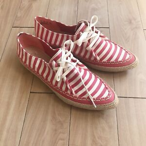 Clarks-Somerset-Red-amp-White-Striped-Canvas-Boat-Shoes-Espadrilles-UK-7-Width-D