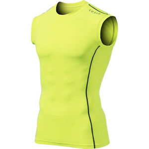 Tesla MUA05 Sleeveless Compression Muscle Tank Top - Neon Yellow/Dark Gray