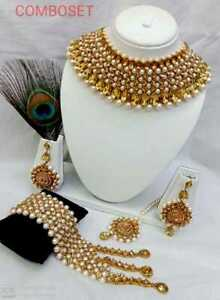 New-Indian-Bollywood-Gold-Plated-Golden-Stone-White-Pearl-Jewelry-Necklace-Set