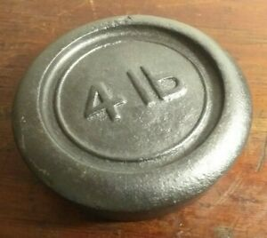 Vintage-Collectable-Cast-Iron-4lb-Round-Weight-Fab-Doorstop-or-Paperweight