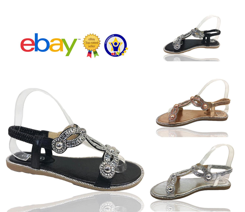 Gentleman/Lady Womens Ladies Flat Diamante Summer Flip Flops Sizes Evenin Summer Sandals Shoes Sizes Flops High grade Modern design Excellent stretching HV224 1f6957