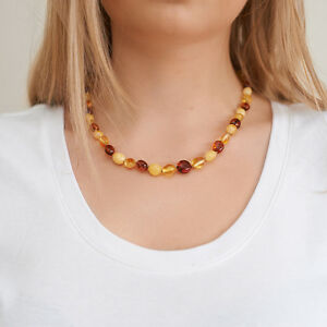 Genuine-Natural-Baltic-Amber-Necklace-Cognac-White-Beads-Silver-Knotted-Choker
