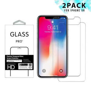 2x-Schutzglas-fuer-iPhone-XR-Display-Folie-9H-Hartglas-Echt-Glas-Schutzfolie