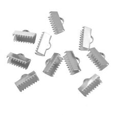 50PCs Stainless Steel End Caps Crimp Bright Silver Tone For Bracelet