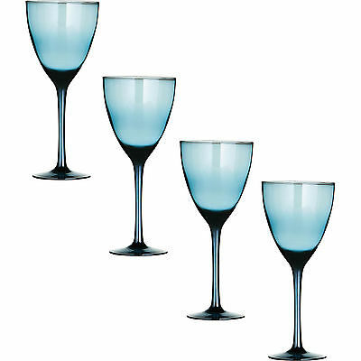 Set of 4 Large Hand Crafted Blue Lustre Wine Glasses Red White Goblets Drinks