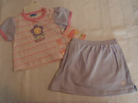 Bon Bebe Girls 6-9 Month Striped Shirt Lavender Skort Outfit
