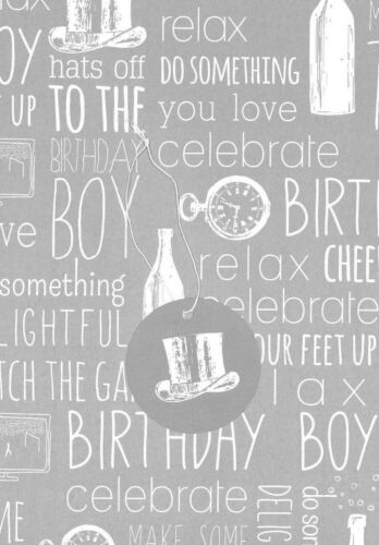 Silver-Grey Birthday Boy wrapping paper x2 sheets gift wrap /& matching gift tag