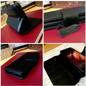 Real-Leather-Wallet-Hand-Stitched-Detail-Book-Case-Black-Huawei-P10-Pelle-Vera