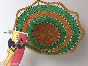 Decorative-8-034-bowl-Nairobi-Kenya-Slum-Art-Wired-Beaded-Handmade-by-Women-New