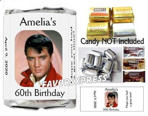 120 ELVIS PRESLEY BIRTHDAY PARTY FAVORS CANDY WRAPPERS LABELS