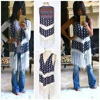 Boho Bandana Paisley Floral Vest Kimono Navy Long White Fringe Hippie 70's Xs-xl