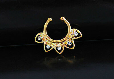 2pcs Fake Gem Septum Clicker Nose Ring Non Piercing Hanger Clip On Jewelry Body