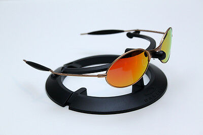 c53e028170 NEW CUSTOM OAKLEY E-WIRE SUNGLASSES MATTE GOLD FRAMES FIRE CASCADE IRIDIUM