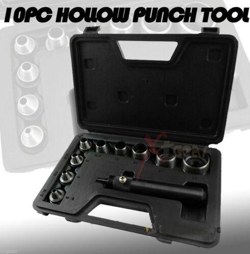 Heavy Duty 10 Pc Hollow Punch Kit W//Case Tool Set Gasket Leather Rubber Case