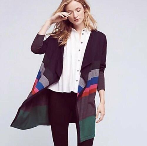 NWT LILI'S CLOSET  Small JUNIE Cardigan Striped Long Length Open Front