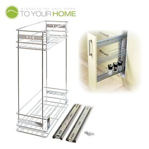 Details about 200mm Pull Out Wire Basket Kitchen Larder Base Unit Cupboard  Drawer Storage
