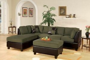 Modern Sage Espresso 3 piece Microfiber Sectional Sofa Couch Ottoman Chaise