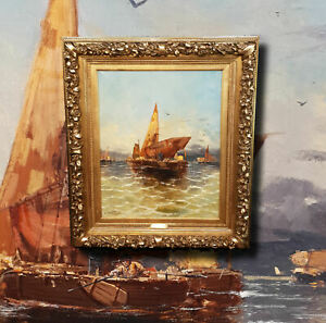 Paisaje-Marino-Antiguo-Pintura-Al-oleo-Georg-Fischhof-1859-Viena
