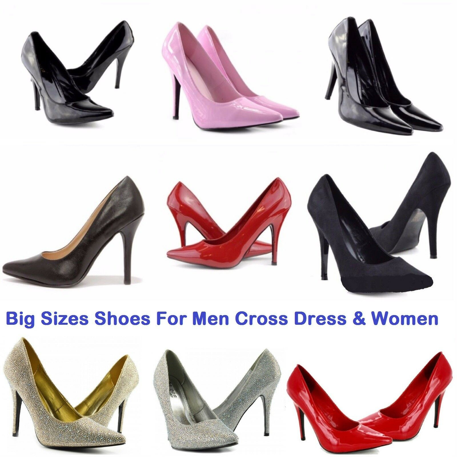 Big Size Cross Dresser Women Drag Queen Patent Leather High Heel Size 9-12 Shoes
