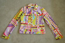 Dolce & Gabbana Multi Colour Print Button Denim Jacket Coat Womens Large UK 12