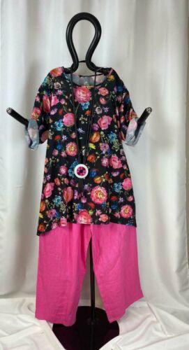 EDLA Viskose Big Shirt A-Linie modisch Blumenprint blau mit Taschen EG