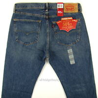 Levis 501 Ct Jeans Mens Button Fly Size 36 X 32 Blue Fade Distressed Tapered Leg