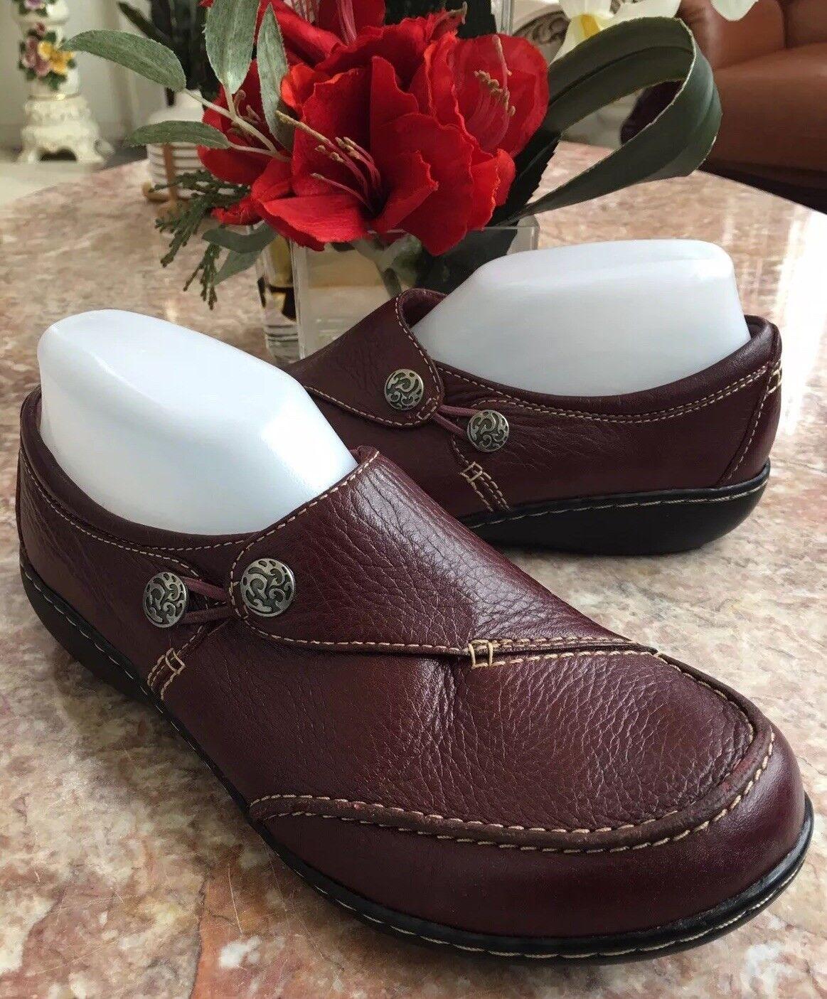 Clarks Bendables Ashland Lane Donna's Burgundy Pelle Loafers Size 8 W MSRP  85
