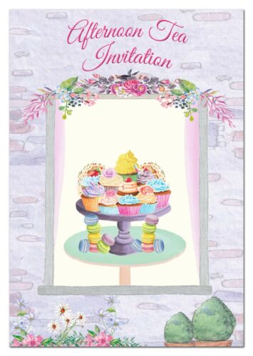 16 Pack Double Face-INVITE Blank Afternoon Tea Party Invitations