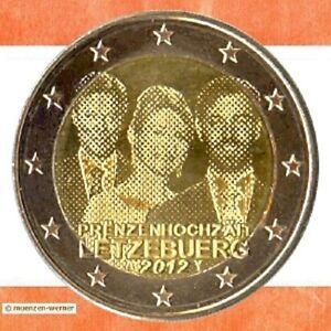 Sondermuenzen-Luxemburg-2-Euro-Muenze-2012-Prinzenhochzeit-Sondermuenze-Gedenkmuenze