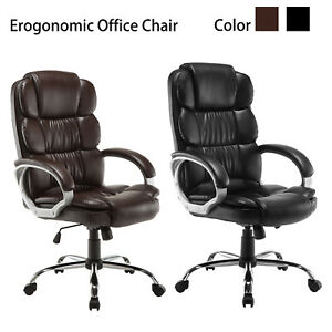 Black-Brown-Luxury-Executive-High-Back-PU-Office-Chair-Computer-Boss-Style