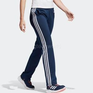 025ff565bbd6 Details about New Women Adidas Designed 2 Move Straight Track Pants 3  Stripes Navy sz Large L