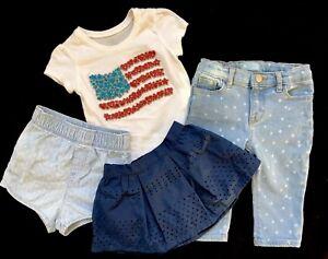 7c7fc48ce0798 Details about BABY GAP Girl's CLOTHING LOT Denim JEANS Skirt Shorts PLACE  Top Sz: 12-18 months