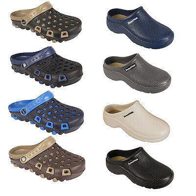 Initiative Mens Work Holiday Clogs Garden Kitchen Hospital Sandals Mules Slip On Beach Shoe