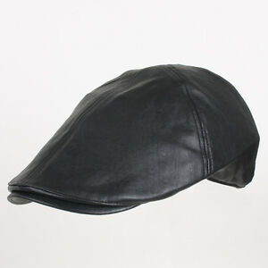 3471a2d2089d7 Details about Faux Leather Unisex Flat Driving Gatsby Cap Duckbill Beret  Newsboy Hunting hat