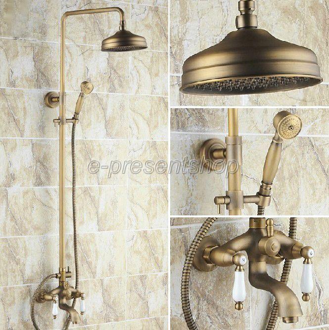 Laiton antique salle de bains douche de pluie Robinet Set Baignoire Mitigeur douche à main Brs004