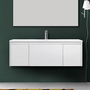 Dettagli su Mobile bagno moderno sospeso 120 cm bianco o tortora opaco con  lavabo in resina