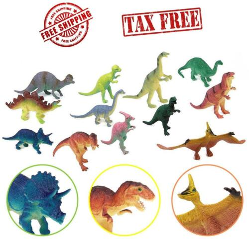 """12 pc Lot 5-7/"""" Large Assorted Dinosaurs Toys Toy Dinosaur Figures Thick Plastic"""