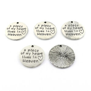 """Zinc Alloy """"a piece of my heart lives in Heaven"""" Charms Silver 24mm Pack Of 5"""