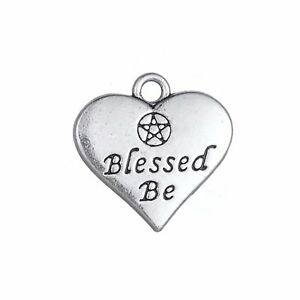 20pcs Blessed Be Heart Charm Wiccan