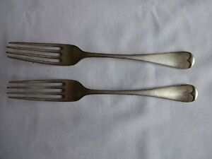 2-x-Antique-Silver-plated-Dessert-forks-Old-English-Pattern-GS-Lee-Sheffield