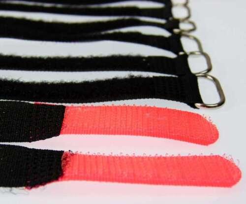 10 x Kabelklettband 16 cm x 16 mm neon rot Klettband Klett Kabel Binder Band Öse