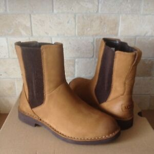 13f5094f08d Details about UGG Larra Chestnut Leather Sheepskin Ankle Boots Booties Size  US 10.5 Womens