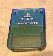 Playstation 1 Official Sony Brand memory card Clear Island BLUE discolored one