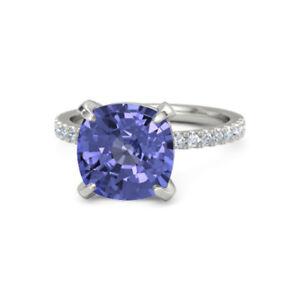 5-10-Ct-Real-Diamond-Ring-Natural-Tanzanite-Gemstone-14K-White-Gold-Band-Size-7