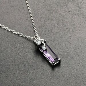 925-Silver-Necklace-with-Amethyst-Pendant-UK-Seller