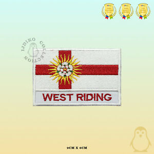 WEST-RIDING-County-Flag-With-Name-Embroidered-Iron-On-Sew-On-Patch-Badge