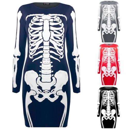 Womens Ladies Skeleton Halloween Fancy Fitted Bodycon Tunic Dresses Printed Top