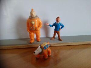 Lot figurines Tintin et milou LU 1994 et figurine Tintin esso 1973