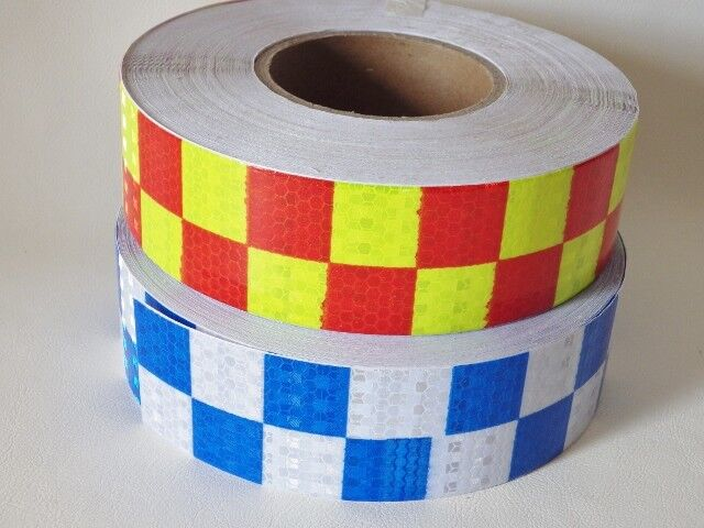 2 metres x 50mm Square Safety Reflective Self adhesive PVC Hazard Caution Tape