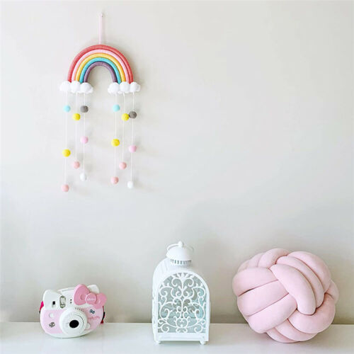 Hand Woven Rainbow Macrame Tapestry Wall Hanging Nursery Room Cloud Home Decor
